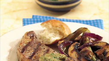 Grilled Steaks with Horseradish-Mustard Sauce