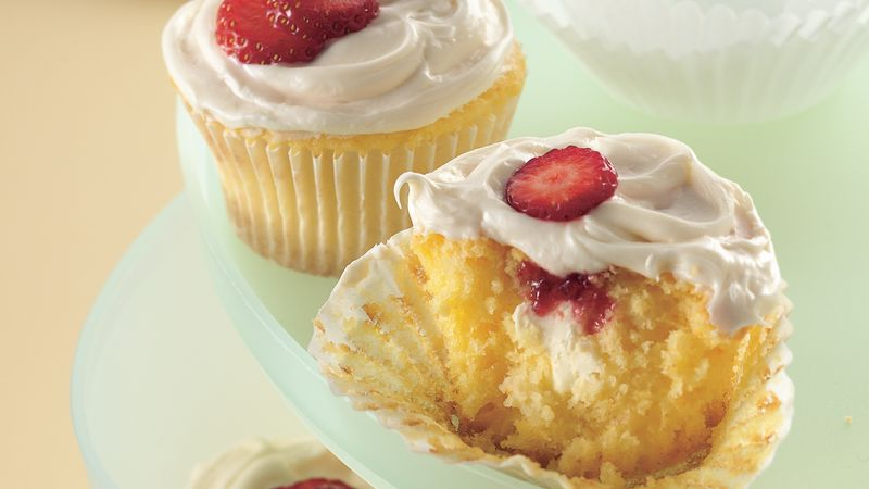 Strawberry-Cream Cheese Cupcakes
