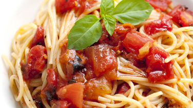 Spaghetti with Tomatoes and Garlic-Basil Oil