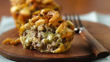Impossibly Easy Mini Blue Cheeseburger Pies