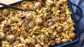 One Pan Meatball And Pepperoni Pasta Bake Recipe