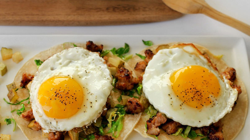 Chorizo Tacos with Brussels Sprouts and Fried Egg