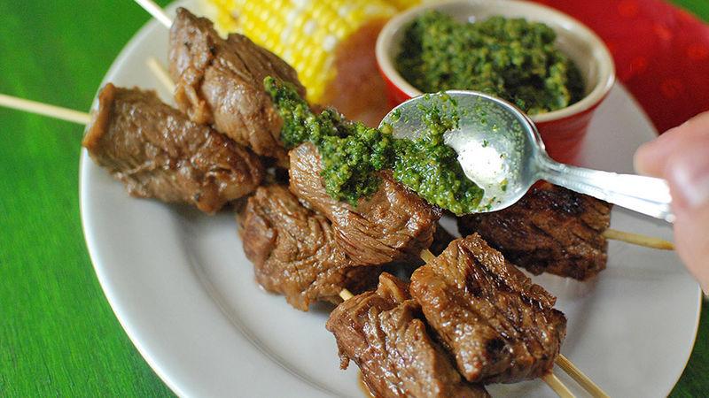 Grilled Hazelnut Pesto Steak Kabobs
