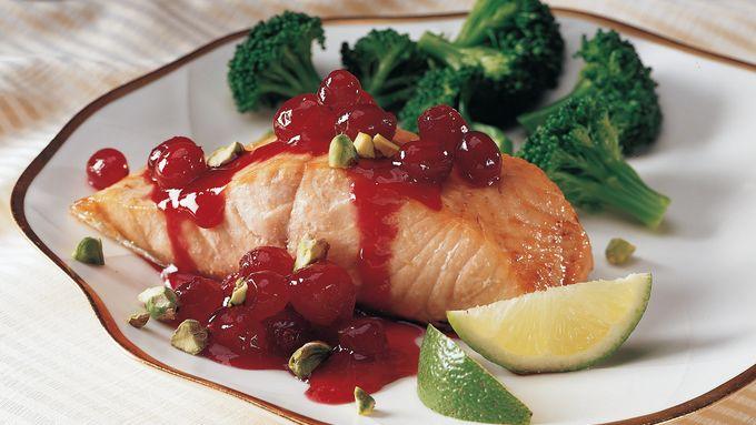Salmon with Cranberry Pistachio Sauce