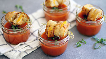 Tomato Soup with Mini Grilled Cheese Sticks