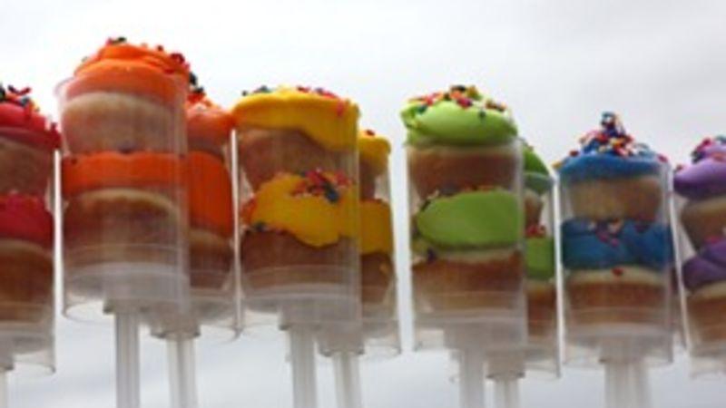 Triple Rainbow Pushup Cakes