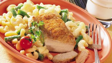 Pork Chops with Cheesy Pasta