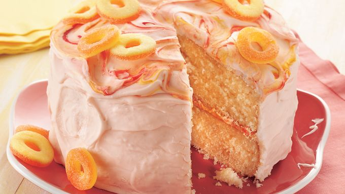Peach Cake with Sour Peach Frosting