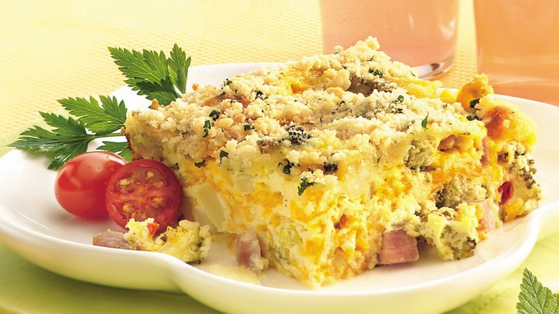 Ham and Broccoli Bake with Parmesan Streusel
