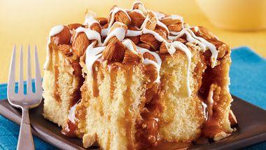 Caramel Almond Poke Cake
