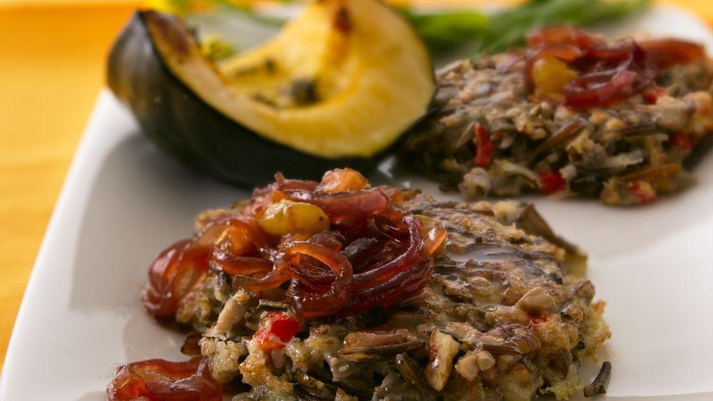 Wild Rice-Pecan Patties with Red Onion Chutney