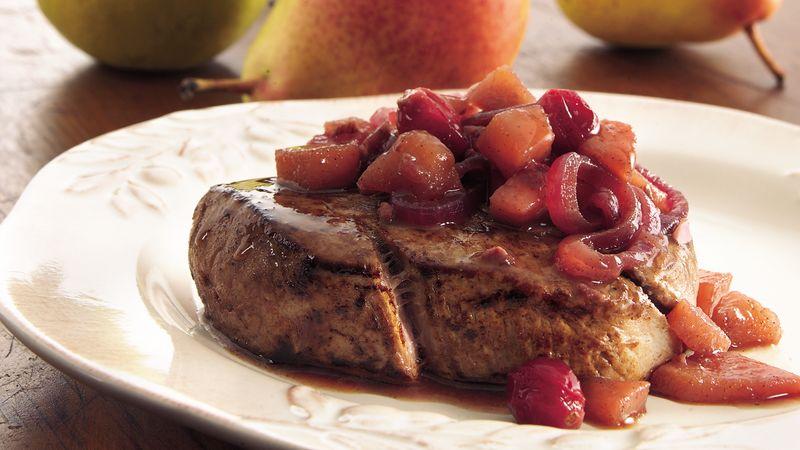 Beef Tenderloin with Pear-Cranberry Chutney