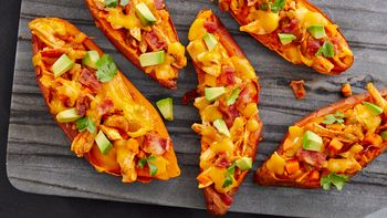 Buffalo Chicken Stuffed Sweet Potato Boats