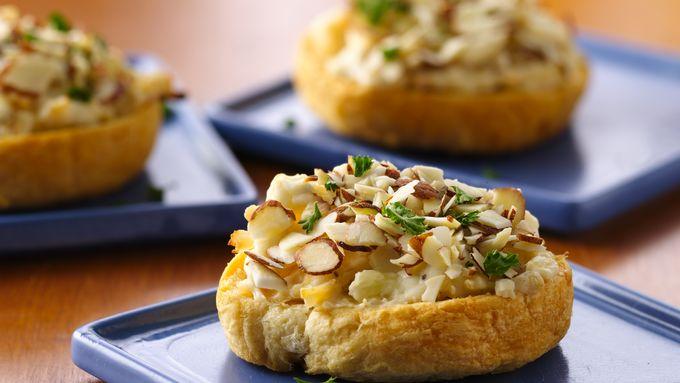 Almond-Chicken Crescent Crostini