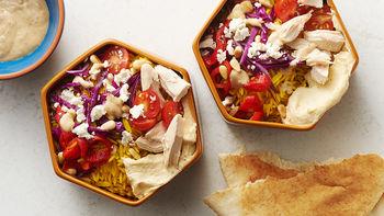 Mediterranean Chicken Pita Bowls
