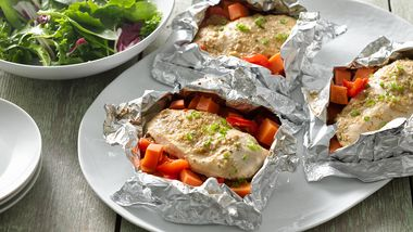 Oven Foil-Pack Honey Dijon Chicken and Sweet Potatoes