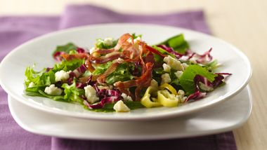 Greens with Prosciutto, Gorgonzola and Pepperoncini
