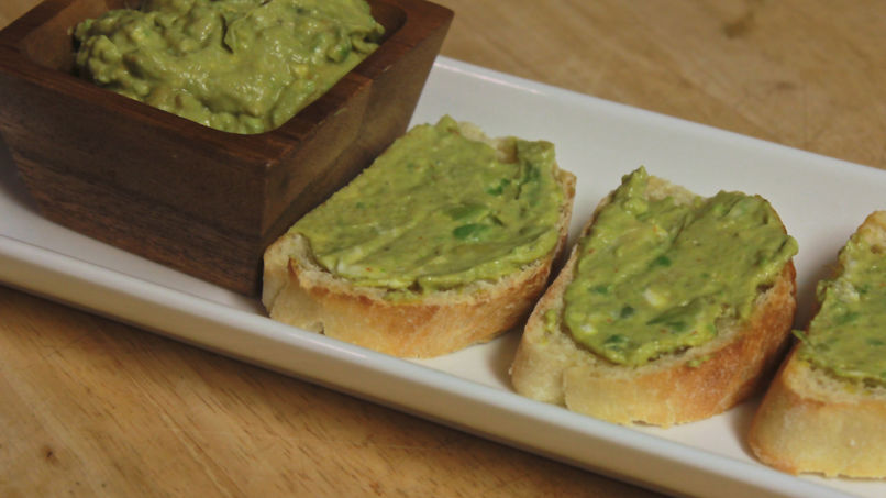 Goat Cheese and Guacamole Crostini