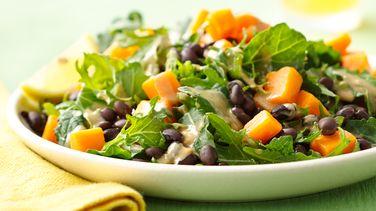 Kale, Black Bean and Sweet Potato Salad with Tahini Dressing