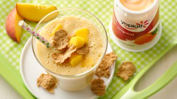 Peach-Mango and Cereal Smoothies