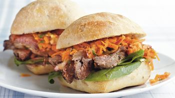 Steak Sandwiches with Carrot Slaw