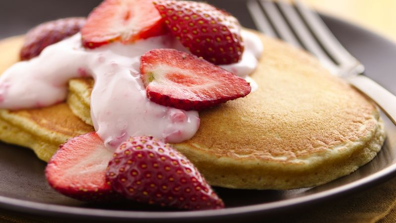 Strawberry-Yogurt Pancakes (White Whole Wheat Flour)