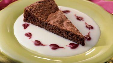 Chocolate Velvet Cake With Dessert Sauces