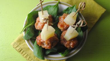Turkey Meatballs with Spicy Pineapple Glaze