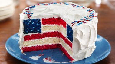 Red, White and Blue Layered Flag Cake