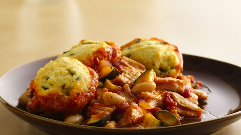 Italian Chicken Pot Pie with Basil Biscuits