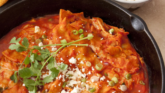 Red Chile Chicken Chilaquiles