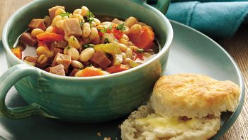 Slow-Cooker Smoky Ham and Navy Bean Stew