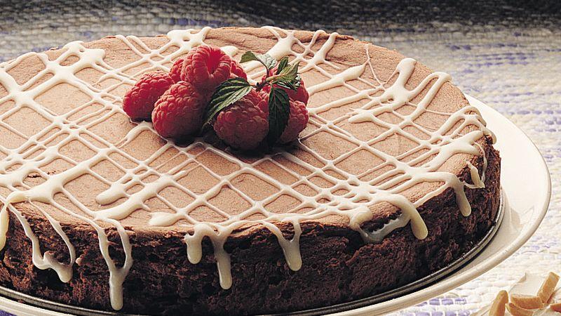 Bittersweet Chocolate Cheesecake with White Truffle Sauce
