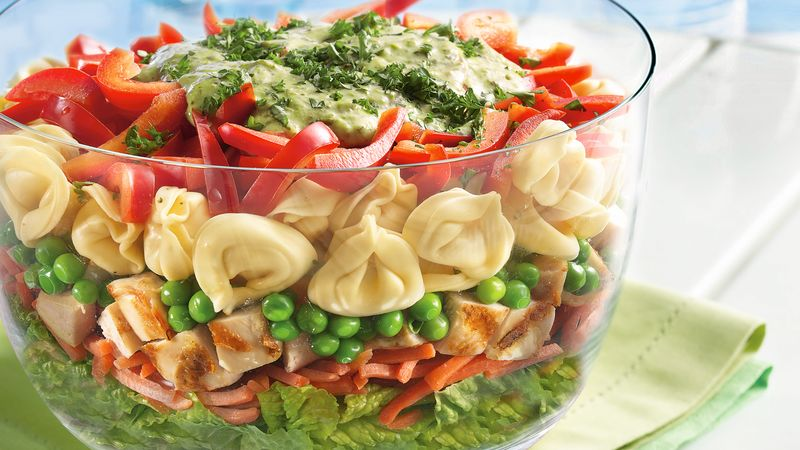 Layered Tortellini Pesto Chicken Salad