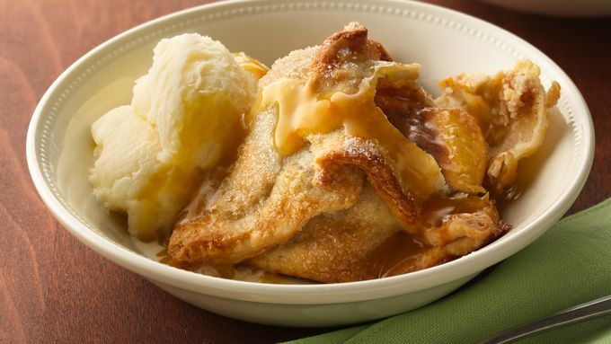 Peach Dumplings with Fuzzy Navel Sauce