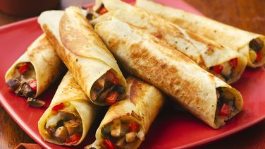 Pan-Fried Mushroom and Cheese Flautas