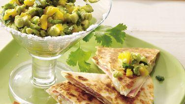 Brie Quesadillas with Mango Guacamole