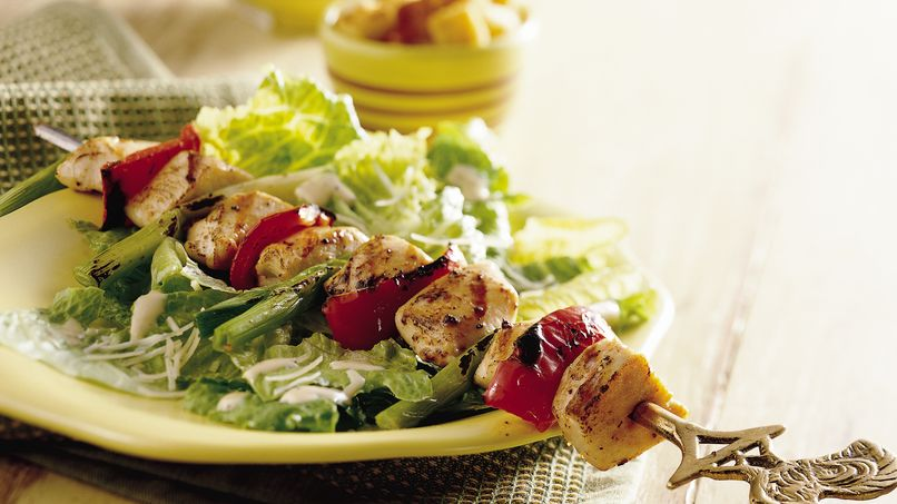Grilled Chicken Kabob Caesar Salad