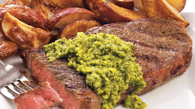 Sirloin Steaks with Cilantro Chimichurri