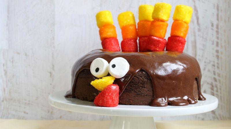 Chocolate-Dipped Marshmallow Turkey Cake