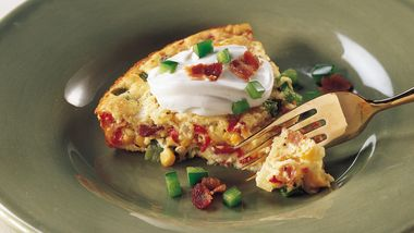 Impossibly Easy Calico Corn and Bacon Pie