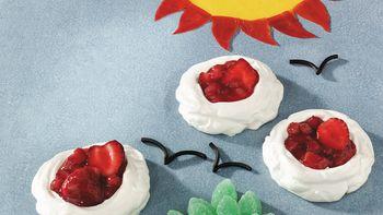 Strawberry-Rhubarb Meringue Clouds