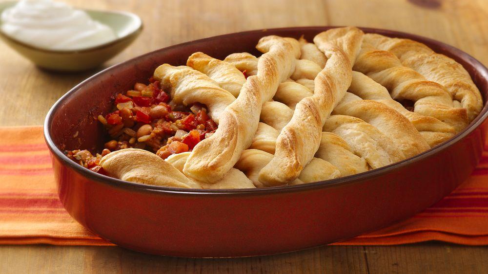 Rice and Bean Burrito Pot Pie