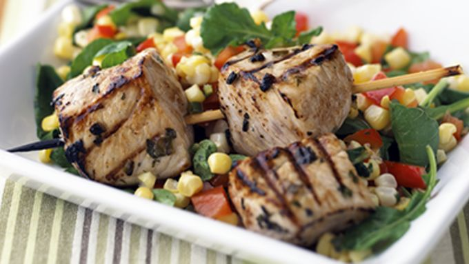 Skinny Marinated Pork with Summer Corn Salad