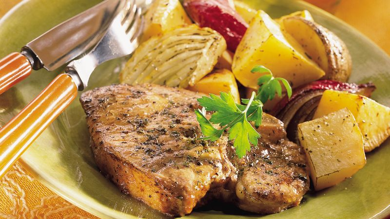 Roasted Pork Chops and Vegetables