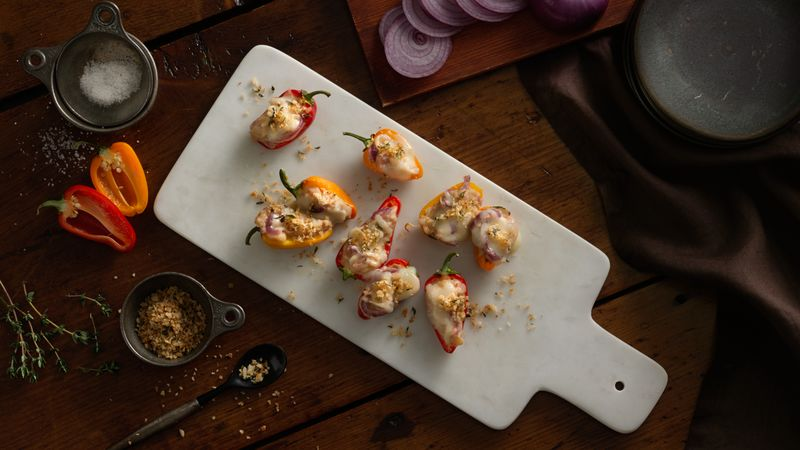 Vegetarian Cannellini-Stuffed Baby Peppers with Cheesy Panko Topping