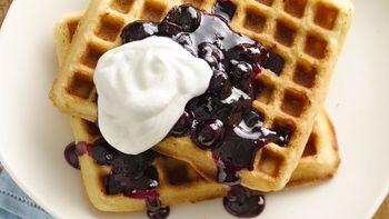 Lemon Blueberry Macadamia Waffles
