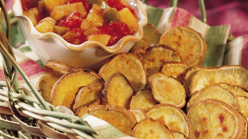 Camote Frito con Salsa de Fruta