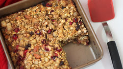 Baked Oatmeal with Spiced Pear, Cranberries and Raisins