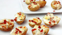 Gorgonzola and Bacon Stuffed Mini Potatoes